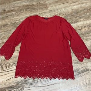 Hannah Red Eyelet Sleeved Tunic Size Large